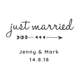 Just Married Cupids Arrow Car Window Sticker Design