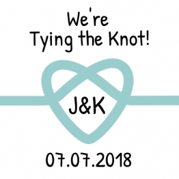 We're Tying the Knot! Save the Date Teal Sticker Design