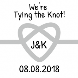 We're Tying the Knot! Save the Date Grey Sticker Design