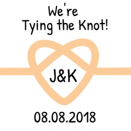 We're Tying the Knot! Save the Date Peach Sticker Design