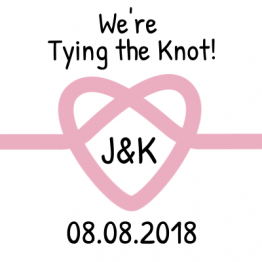 We're Tying the Knot! Save the Date Pink Sticker Design