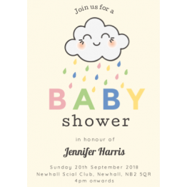 Baby Shower Invite - Cloud Rainbow Design