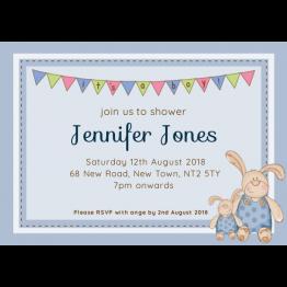 Bunnies Baby Shower Invite - Boys
