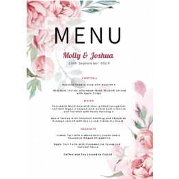 Wedding Table Menu - Floral Design