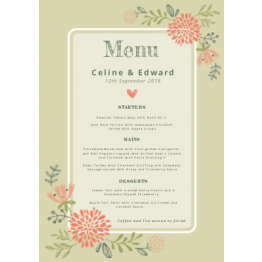 Wedding Table Menu - Botanical Design