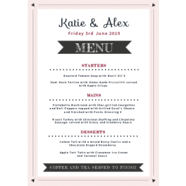 Wedding Table Menu - Little Hearts Design