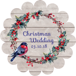 Wedding Label - Robin and Wreath Design