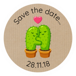 Wedding Labels - Cactus Save The Date Design