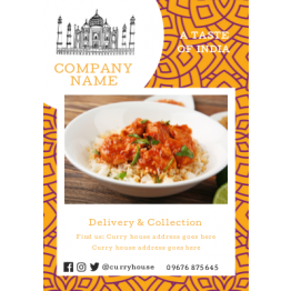 Flyers - Indian Takeaway Yellow Floral Design