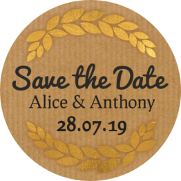 Save the Date Gold Wreath