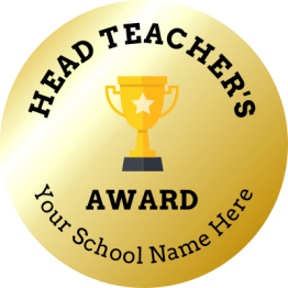 Gold Head Teacher Award Stickers