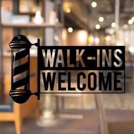 Barber Pole Walk-ins Welcome Window Decal