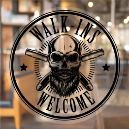 Barbers Skull Walk-ins Welcome Window Decal