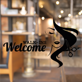 Hairdressing Walk-ins Welcome Window Decal